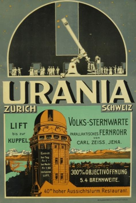 Altes Plakat der Urania Sternwarte Zürich